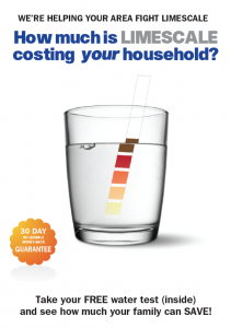 Door drop targeting known hard water areas to promote EWT's Water Softener range.