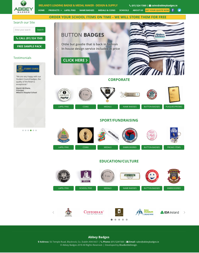 Abbey Badges website design.